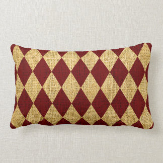 Circus Harlequin Pattern Rustic Red Lumbar Pillow