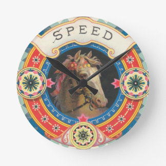 Circus Horse Named Speed Round Clock