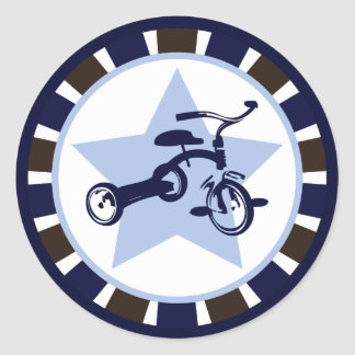 {Circus Inspired} Blue Tricycle Round Sticker