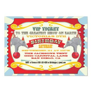"Circus or Carnival Ticket Birthday Invitation 5"" X 7"" Invitation Card"