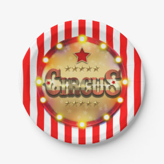 Circus Party Event Red White Gold Striped Chic Paper Plate