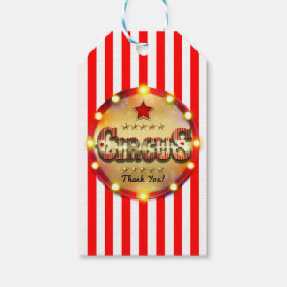 Circus Party Event Red White Gold Striped Favor Gift Tags
