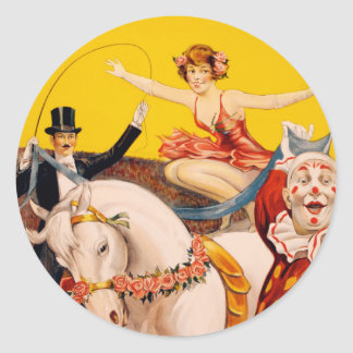 Circus performers vintage illustration classic round sticker