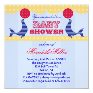 Circus Seal Baby Shower Invitation