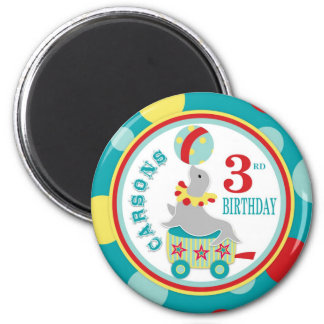 Circus Seal Birthday 2 Inch Round Magnet