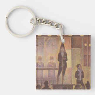 Circus Sideshow by Georges Seurat Double-Sided Square Acrylic Keychain