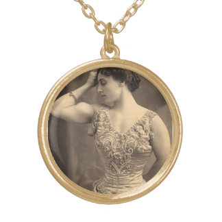 Circus Strongwoman Gold Plated Necklace