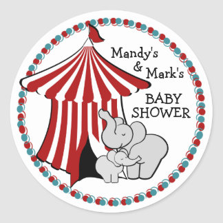 Circus Tent Baby Elephant Classic Round Sticker