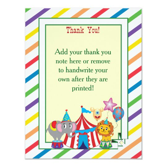 Circus Thank You Note Card