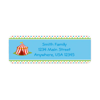 Circus Theme   Circus Tent    Personalized Return Address Label