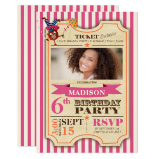 Circus Ticket | Birthday Girl | Party Invitation