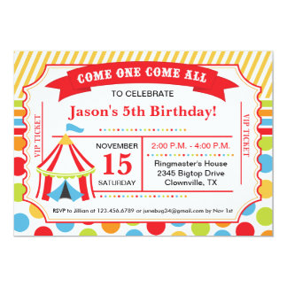 "Circus Ticket Birthday Party 5"" X 7"" Invitation Card"