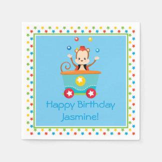 Circus Train   Juggline Monkey   Personalized Paper Napkin