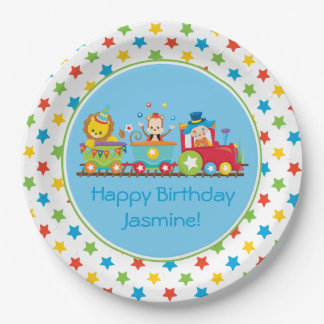 Circus Train | Monkey | Lion | Clown| Personalized 9 Inch Paper Plate