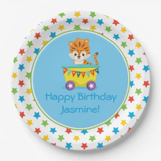 Circus Train   Tiger   Personalized Paper Plate