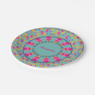 Circus Treats Ice Cream Popcorn Custom Birthday Paper Plate