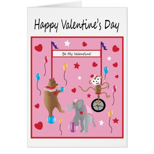 Circus Valentine's Day Wish For Children Card