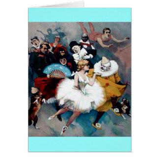 Circus vintage poster ballerina dogs trapez card