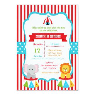 Cirque d'invitations de fête d'anniversaire de carton d'invitation  12,7 cm x 17,78 cm