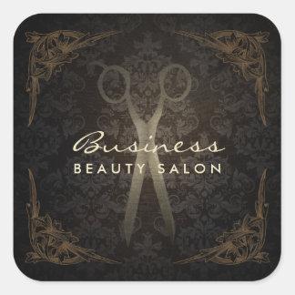 Ciseaux de salon de coiffure de damassé encadrés sticker carré