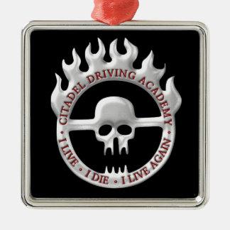 Citadel Driving Academy Silver-Colored Square Ornament