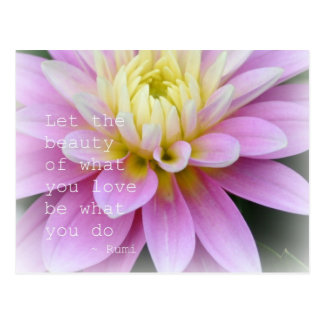 Citation de Rumi de carte postale de dahlia de fle