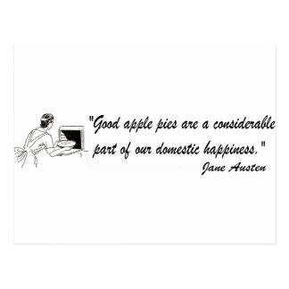 Citation de tartes aux pommes de Jane Austen Carte Postale