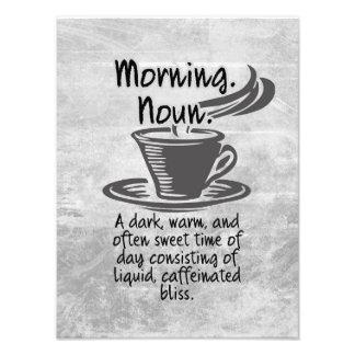 Citation drôle de matin d'amants mignons de café photo d'art