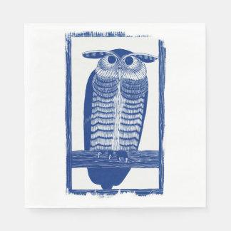 Cite Modern Owl In Blue Paper Napkin