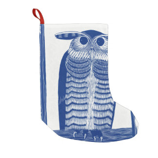Cite Modern Owl In Blue Small Christmas Stocking