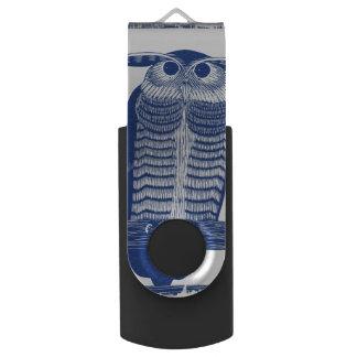 Cite Modern Owl In Blue USB Flash Drive