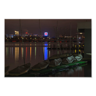 Citgo Sign through the boats on the Charles River