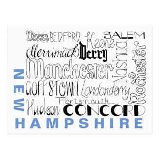 Cities in New Hampshire Postcard