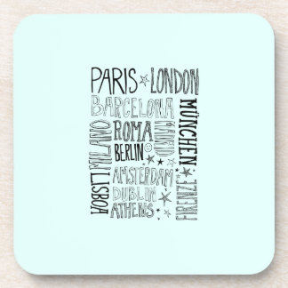 Cities of Europe Chic Modern Typography City Gifts Beverage Coasters