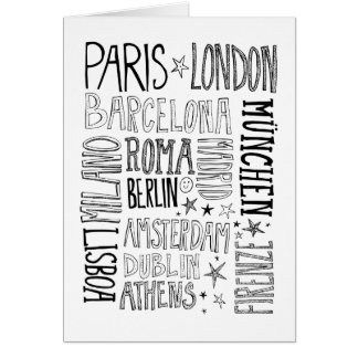 Cities of Europe Chic Modern Typography City Gifts Card