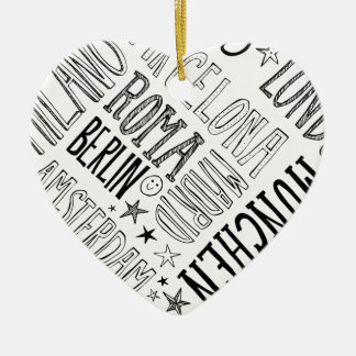Cities of Europe Chic Modern Typography City Gifts Ceramic Heart Ornament