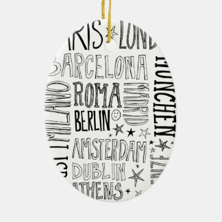 Cities of Europe Chic Modern Typography City Gifts Ceramic Oval Ornament