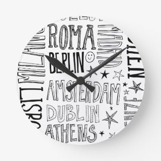 Cities of Europe Chic Modern Typography City Gifts Clock