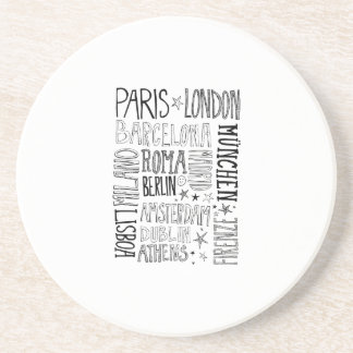 Cities of Europe Chic Modern Typography City Gifts Drink Coasters