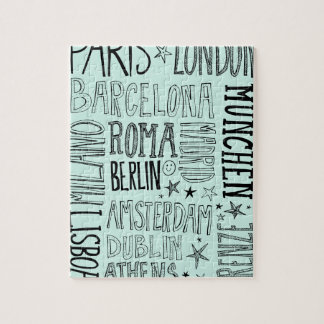 Cities of Europe Chic Modern Typography City Gifts Jigsaw Puzzle