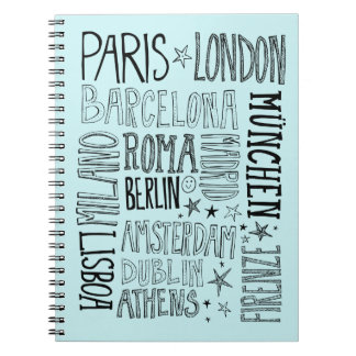 Cities of Europe Chic Modern Typography City Gifts Notebooks