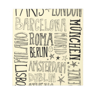 Cities of Europe Chic Modern Typography City Gifts Notepad