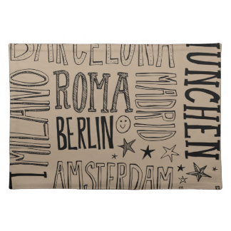 Cities of Europe Chic Modern Typography City Gifts Placemat