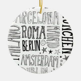 Cities of Europe Chic Modern Typography City Gifts Round Ceramic Ornament