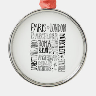 Cities of Europe Chic Modern Typography City Gifts Silver-Colored Round Ornament
