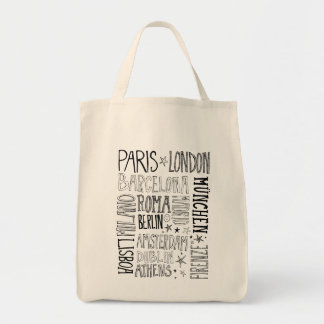 Cities of Europe Chic Modern Typography City Gifts Tote Bag