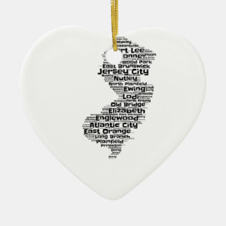 Cities of New Jersey Ceramic Heart Ornament