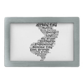Cities of New Jersey Rectangular Belt Buckle