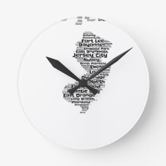 Cities of New Jersey Round Clock