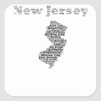Cities of New Jersey Square Sticker